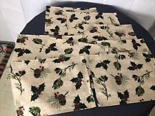 8 Holiday Christmas  Fabric Placemats Holly and Pine Cone Christmas Winter
