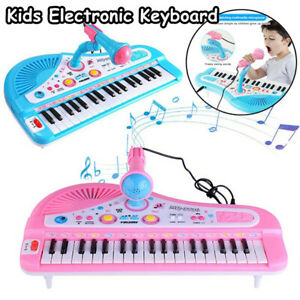 Kids Electronic 37 Key Keyboard Piano Musical Toy w/Microphone for Children Gift