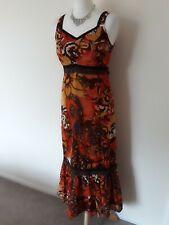 Heine 100% Cotton Orange Midi/Maxi Hippie 1970's  Style Summer Dress Size 10