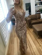 Sexy Rose Gold Fitted Evening Gown, Wedding Or Cocktail Dress Great Gatsby Sz 12