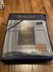 Pendleton Cotton Stillwater Plaid Blanket Twin, 68x96 Blue