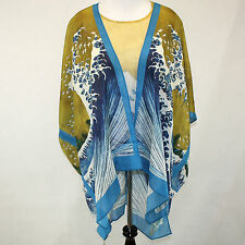 NEW NWT Cocoon House Wearable Art Great Waves 100% Silk Kimono Top Large / XL