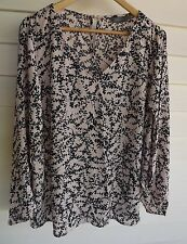Jacqui E Women's Beige & Blue-Black Print Top with Opening along Sleeves - Sz 18