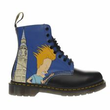 Original Dr Martens Nero e Blu BEAVIS & BUTTHEAD 8 Eye Stivale CULT Tg UK 5