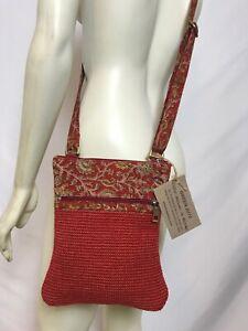 NEW Green Jute Rising Tide Eco Handmade Festival Red Woven Crossbody Bag