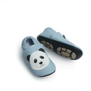 Liya's Krabbelschuhe Hausschuhe Lederpuschen - #607 panda in hellblau