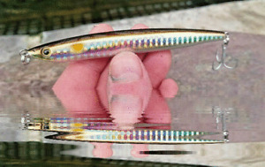 Bass Pollack Sinking pencil lure 105mm 30g AMBER SPOT SANDEEL long cast VMC hook