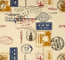 Decorator~Upholstery~STAMPS ~World Postage ~Airmail~Travel ~ Fabric~per 1/4 yard