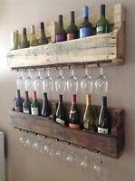 Handmade rustic reclaimed wooden glass and bottle wine rack