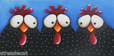 Original acrylic painting fine art canvas whimsical birds chickens Freedom