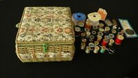 Vintage Azah Japan  Wicker Fabric Sewing Basket Plus Contents