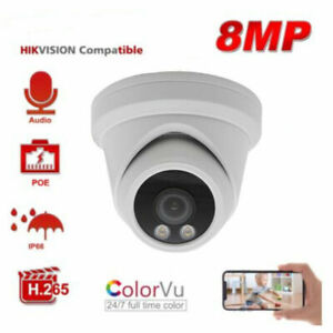 Hikvision Compatible 8MP ColorVu POE IP Camera Turret Built-in MIC Onvif 2.8mm