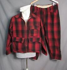 VINTAGE 1950s rojo y negro lana CAZA Disfraz Buffalo Plaid Chaqueta Pantalones