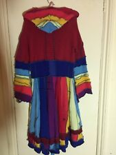 100% Wool UpCycled Rainbow Jumper Hooded Full Skirted Striped Coat Size M/L