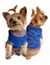 DOGGIE DESIGN Blue and Beige Starry Night Dog Sweater (Size XS)