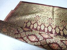 "Thai Traditional Brown &Gold  Silk Fabric for Sarong /Dress 72""x 40"" ID 021"