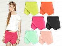 Women Ladies New Skorts Shorts Skirt Neon Plain Culottes Irregular Flanging Wrap