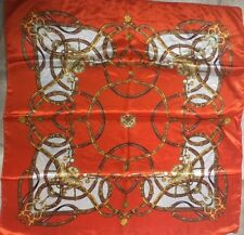 Ladies Vintage ORANGE Thin Belts Pattern Silk Long Square Scarf