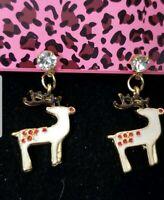 White Enamel Christmas Elk Deer Crystal Betsey Johnson Women Stand Earrings