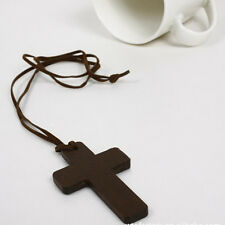 Women Fashion Cross Necklace Wood Jewelry Leather Necklace Personality Jewelry