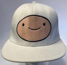 Adventure Time White Baseball Hat Finn Felt Logo Cartoon Network Snapback