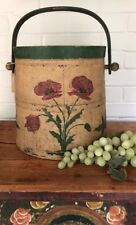 Large Antique FIRKIN Wood Bucket Swing Handle Painted Staved Excellent Cond