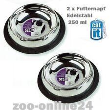 Catit Futter & Trinknapf 16cm; 2 Stück Edelstahl-Napf für Katzen u. kleine Hunde