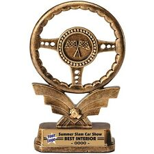 STEERING WHEEL CAR SHOW TROPHY AWARD RESIN RACING FREE LETTERING MRF37