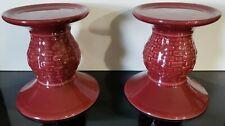 Set of 2 Longaberger Paprika Candle Stands