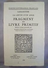 LAMARTINE / LE CHUTE D'UN ANGE, FRAGMENT DU LIVRE PRIMITIF / M-F. GUYARD 1954