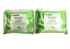 2 x Simple Exfoliating Cleansing Double Sided Facial Wipes Contain 25 Wipes Each