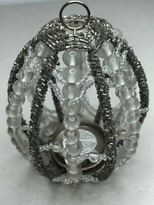 Pottery Barn Beaded Crystal Egg Votive Candle Holder 5.5""