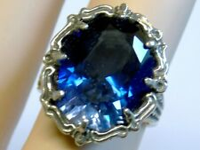 12ct BLUE SAPPHIRE ANTIQUE 925 STERLING SILVER FILIGREE RING SIZE 7.5 USA MADE