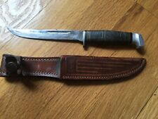 """Vtg Case Fixed Blade Knife 8.75"""" Long 5"""" Stacked Leather Handle W/Case XX Sheath"""