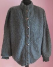 VTG Ladies MAMUT MODEN Grey Lined Oversized Mohair Mix Cardigan Size 16 (j27