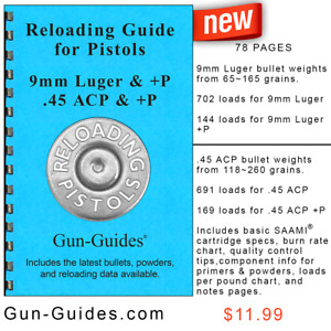 Reloading Manual Book Guide Pistols 9 mm 45 ACP Auto & +P from Gun-Guides NEW!