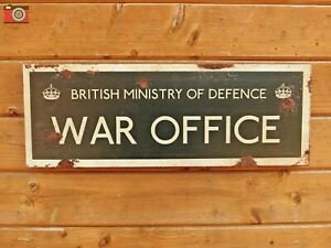"""""""WAR OFFICE"""" SIGN. Vintage Aged Antique Patina Look. All Metal. WW2 MOD Military"""
