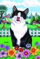 New listing Spring House Flag - Black and White Tuxedo Cat 76010