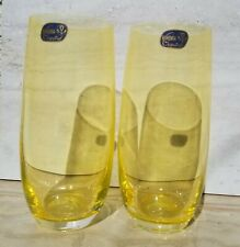 Two Bohemia Crystal Drinking Yellow Glasses