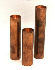 More details for set of 3 arno wolf sold copper candle sticks holders heavy unusual design - k10