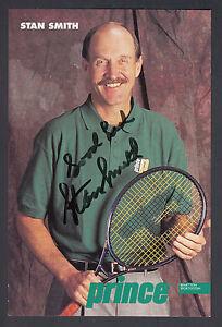 Stan Smith Tennis HOF Auotgraphed 4x6 Prince Equipment Player Photo Card JSA COA