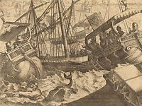 JACQUES CALLOT FRENCH STORM COAST BARCELONA OLD ART PAINTING POSTER BB5761A