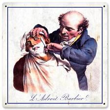 Vintage Barber Shop Shave Louis Leopold Boilly Metal Sign Bathroom ManCave Bs021