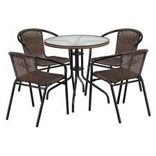Outdoor Patio Dining Set Cafe Pub Yard Poolside Garden Rattan Furniture 5 Piece