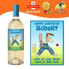 PERSONALISED FUNNY CRICKET SPORT WINE BOTTLE LABEL BIRTHDAY ANY OCCASION GIFT