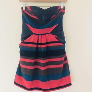 Bar III Womens Size XS Dress Sleeveless Striped Faux Leather Panel NWT 331