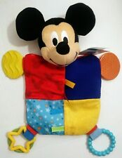 "Disney Baby Mickey Mouse Plush Teething Blanket, 12"" Square Multicolored"
