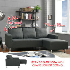 NEW Fabric 3 Seater Sofa with Chaise Lounge Setting Couch Furniture - Charcoal