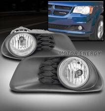 11-16 DODGE GRAND CARAVAN FRONT BUMPER FOG LIGHTS LAMPS CHROME W/WIRING HARNESS