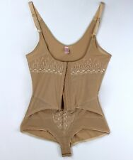 Tracy Bodysuit Shapewear 3XL Beige Stretchy Pin Up Girl Front and Crotch Closure